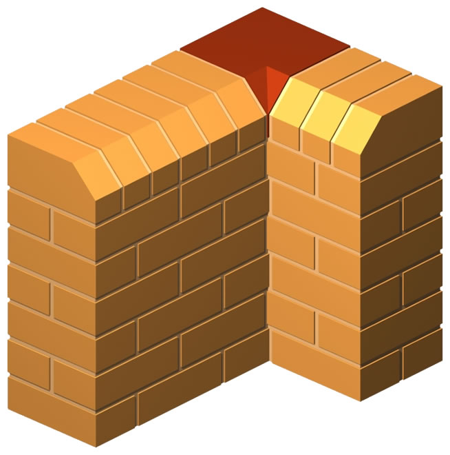 Angled Press Cut Angular Internal Return Brick
